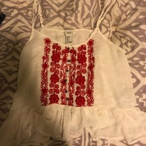 Embroidered flowy tank